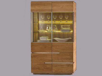 Wimmer acerro Vitrine Massivholz Türen mit Glasfüllung und Eckglasfüllung für Wohnzimmer und Esszimmer