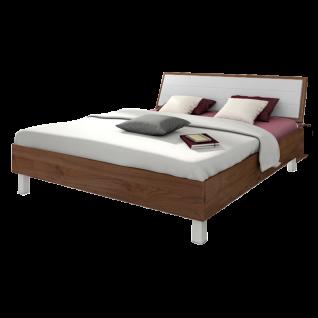 Nolte Sonyo Bett Doppelbett Bettrahmen eckig Polster-Rückenlehne Kunstleder Seidengrau Macadamia-Nussbaum-Nachbildung Kunststofffuß eckig alu-matt