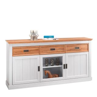MCA Furniture Cleveland Sideboard T03 für Ihr Wohnzimmer oder Esszimmer Kommode im Landhausstil mit zwei Türen einer Glastür und drei Schubkästen Korpus und Front Dekor new white mit Absetzungen in Wildeiche Dekor