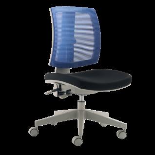 Mayer Sitzmöbel Homeoffice myFLEXO 2432-502 Kinderdrehstuhl Bezug schwarz/blau Gestell grau für Kinder- und Jugendliche