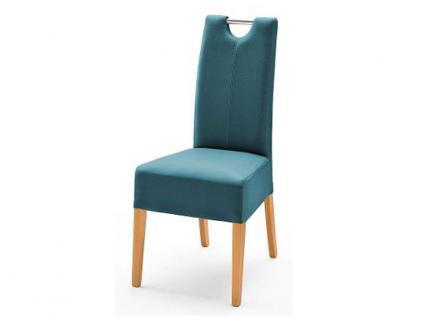 MCA Direkt Stuhl Enya Bezug Argentina in der Farbe petrol 2er Set Polsterstuhl für Wohnzimmer und Esszimmer Ausführung 4 Fuß Massivholzgestell und Chromgriff