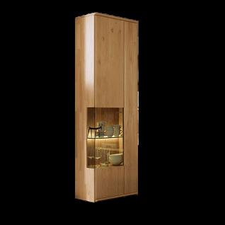 Wöstmann Bari 3000 Vitrine 2-türig Massivholz Wildeiche Stauraum für Wohnzimmer optional LED-Beleuchtung wählbar
