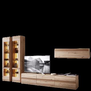Stralsunder Binz 6-teilige Wohnwand in Alteiche Nachbildung bestehend aus zwei Vitrinen und einem Lowboard sowie einem Hängeelement ideal für Ihr Wohnzimmer