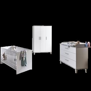Paidi Nils Babyzimmer 3-teilig bestehend aus Kinderbett ca. 70x140 cm Wickelkommode mit 3 Schubkästen und Kleiderschrank 3T mit 3 Türen