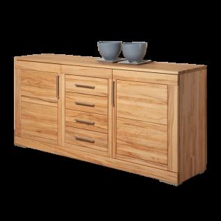 Wimmer Casera Sideboard 2-türig mit 4 Schubkästen Korpus und Front Massivholz naturbelassen geölt Holzausführung Griffausführung wählbar für Ihr Wohnzimmer oder Esszimmer
