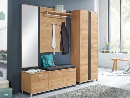 Voss-Möbel Vedo Garderobenkombination 6 5-tlg für Ihren Eingangsbereich komplett in Eiche teilmassiv Front Absetzung anthrazitfarben