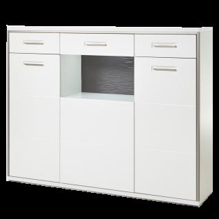 MCA furniture Highboard Trento Art. Nr. TRE83T05 Front weiß Hochglanz tiefzieh Nachbildung Korpus weiß Nachbildung mit edelstahlfarbenem Metallrahmen Schrank für Ihr Esszimmer