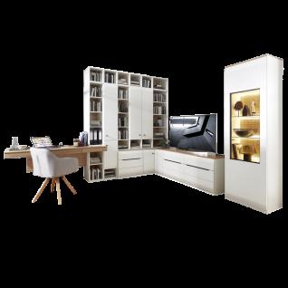 Stralsunder Breege Eck-Kombination EBE195-28501HV mit Schreibtisch S165.100 mit Lowboards Regalen Schränken und Standvitrine in Tonweiß und Alteiche