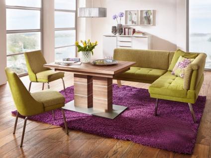 K+W Möbel 4313 Basono Eckbank mit Stühlen und Sessel 6105 und Säulentisch 5056 Komfortbank für Esszimmer Bezug Stoff
