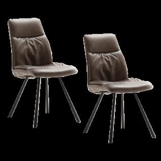 2x MCA furniture Stuhl Oxford in wählbarer Bezugsfarbe mit oder ohne Armlehnen wählbar mit anthrazit lackiertem Gestell konisch zulaufend ideal für Ihr Esszimmer