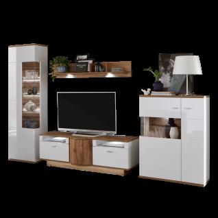 Ideal-Möbel Magic Wohnwand 29 mit zwei Vitrinen einem Lowboard und Wandboard Korpus Weiß Front Weiß Hochglanz Absetzung Wotan Eiche Nachbildung