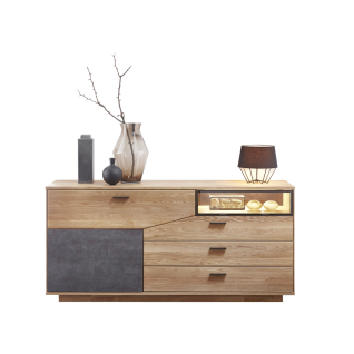 Wohn-Concept Gerano Sideboard 4565HH20 mit Klappe Tür und Schubkästen Kommode in Wildeiche teilmassiv mit Korpus aus Massivholz und Frontabsetzungen in Keramik anthrazit Anrichte mit viel Stauraum für Ihr Wohnzimmer oder Esszimmer