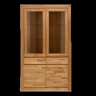 Elfo-Möbel Delft Vitrinenschrank 6207 mit 2 Schubkästen 2 Glastüren 2 Holztüren Vitrine in Kernbuche Massivholz geölt für Wohnzimmer oder Speisezimmer