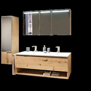 Voglauer V-Alpin Badezimmerkombination 4-teilig mit Spiegelschrank Mittelschrank Doppel-Möbelwaschtisch mit Unterbaubecken Acryl weiß und Doppelwaschtischunterschrank sowie Front- und Waschplatzbeleuchtung - Korpus und Front Alteiche rustiko echtholzfurni