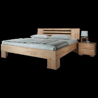Dico Möbel Massivholzbett Avantgarde System mit Kopfteil in Buche lackiert Liegefläche wählbar optional mit Nachttisch
