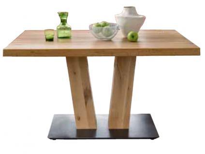 Niehoff Esstisch 4393-44 Massivholztisch in rustical oak natur gewachst mit V-Säule und Bodenplatte in Schwarz Tischplattengröße wählbar für Esszimmer