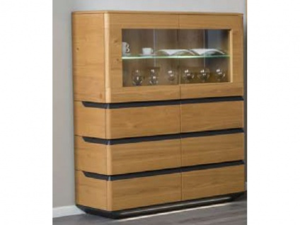 Dkk Klose Zebra Kastenmöbel 7427 Highboard inkl. Glaskantenbeleuchtung Kommode für Wohnzimmer oder Esszimmer Beimöbel Sockelbeleuchtung und Ausführung wählbar