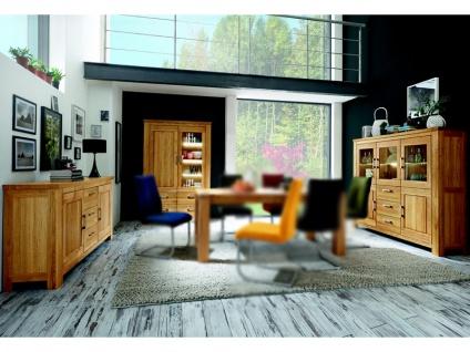 Niehoff Casa Nova 3tlg. Set Highboard 0144 Vitrine 0274 und Anrichte 0114 teilmassiv Wildeiche geölt Beleuchtung wählbar ideal für Ihr Wohn-oder Esszimmer