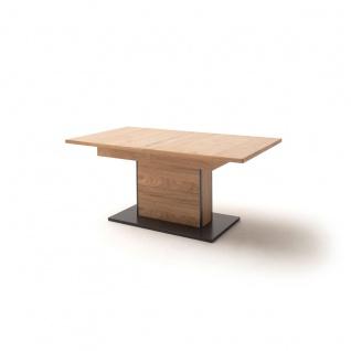 MCA furniture Esstisch Campinas Art.Nr. CAP17T60 in Tischplatte und Säule Asteiche Bianco furniert Bodenplatte anthrazit lackiert Kanten Massivholz