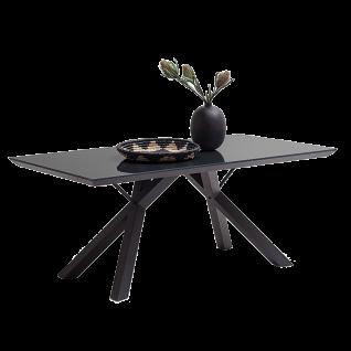 MCA furniture Esstisch Everett Tischplatte aus Sicherheitsglas in anthrazit 4-Fuß Gestell schwarz lackiert