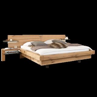 Wöstmann WSM 2100 Bettanlage mit Kopfteil aus Holz inkl. Anstellkonsolen optional Kopfteilpolsterung und Metallablage am Holzkopfteil mit oder ohne Beleuchtung Liegefläche wählbar