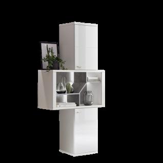 Ideal-Möbel Taviano Regal Type 08 modernes Standregal für Ihr Wohnzimmer oder Essimmer mit zwei Türen und einer Regal-Aufteilung mit integrierter LED Beluchtung Ausführung Weiß mit Hochglanzfronten und Absetzungen in Marmor Optik