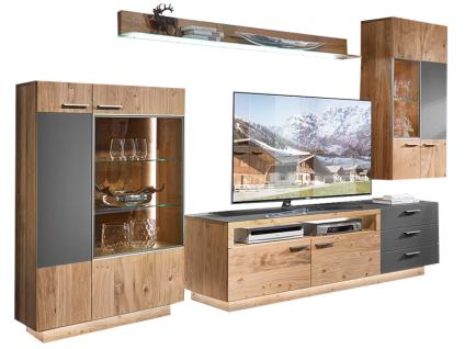 Schröder Kitzalm-Montana Kombination K001 furnierte Wohnkombination 4-teilig Wohnwand mit Glas-Akzent für Wohnzimmer mit TV-Unterteil Hängeschrank Highboard und Wandbord Holzausführung und Beleuchtung wählbar