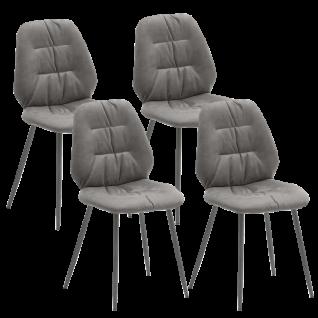 4er Set MCA furniture Stuhl Naxos NXRA63_GX Bezug in Kunstleder Antik grau und schwarz lackierten Metallfüßen ideal für Ihr Esszimmer