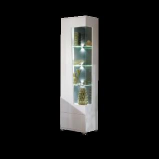 Wohn-Concept Alibaba Vitrine 40 88 WW 01 moderne Standvitrine für Ihr Wohnzimmer oder Esszimmer mit einer Tür mit Glasausschnitt Vitrine in Weiß Hochglanz und Weiß matt mit Absetzungen in Terra Grau Hochglanz MDF mit Diamant-Effekt Beleuchtung wählbar