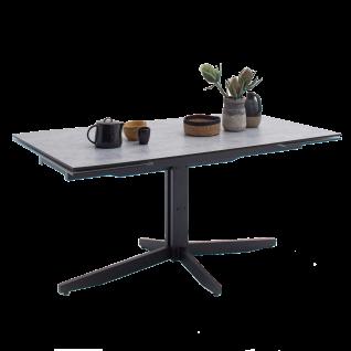 MCA furniture Esstisch Rimini mit Stirnauszug Tischplatte aus HPL/ Sicherheitsglas Metallgestell schwarz Tisch in 3 Ausführungen