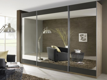 Rauch Select Kiano Schwebetürenschrank Front Streifen Grauspiegel und Spiegel Korpus und Griff wählbar Kleiderschrank