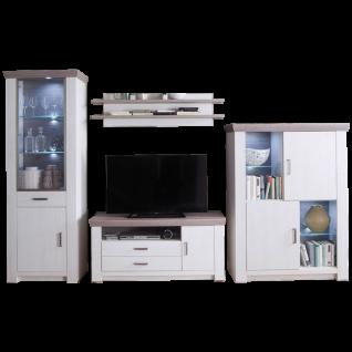 MCA furniture Wohnkombination 1 Bozen Art.Nr. BOZ96W01 in Pinie Aurelio Absetzung Eiche Nelson 4-teilig optionale LED-Beleuchtung für Ihr Wohnzimmer