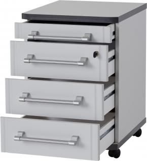 Germania Profi Rollcontainer 0655 in wählbarer Farbkombination mit vier Schubkästen davon ein Schubkasten abschließbar ideal für Homeoffice oder Büro - Vorschau 4