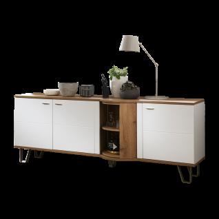 Ideal-Möbel Magic Sideboard 53 mit Drehkarussel und drei Türen Korpus Weiß Front Weiß Hochglanz Absetzung Wotan Eiche Nachbildung mit Metallfüßen