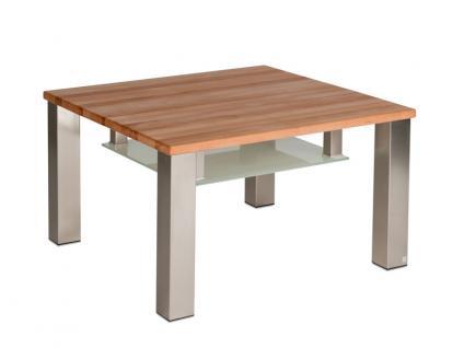 Vierhaus Couchtisch 4291 Tischplatte ca. 75 x 75 cm aus Massivholz und Ablageboden aus satiniertem Glas Gestell nickelfarbig satiniert auf Rollen Holzausführung wählbar
