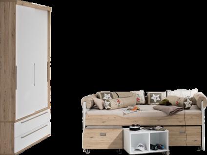 Paidi Fionn Jugendzimmer 6-teilig Kojenbett mit gleich hohen Häuptern 90x200 cm Schiebetürenschrank schmal 2T2S zwei Rollboxen und 1 Rollregal