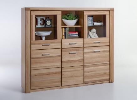 Elfo-Möbel Tabea Highboard 6335 mit 3 Holztüren 2 Türen mit Glaseinsatz 1 Schubkasten 2 Fächer Kernbuche teilmassiv geölt für Wohnzimmer oder Esszimmer