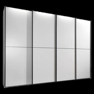Wiemann Westside Schwebetürenschrank 4-türig mit Synchronöffnung Korpus in weiß mit Griffleisten und Aufleistungen in schwarz Breite wählbar