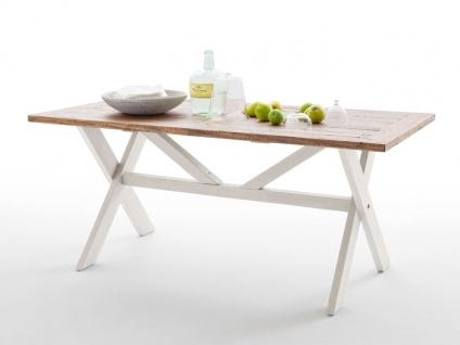 MCA furniture Esstisch Byron aus Massivholz Recycle Kiefer mit Tischplatte Vintage braun, Gestellfarbe wählbar