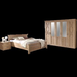 Forte Nepal Schlafzimmer-Set 4-teilig bestehend aus Bett mit Liegefläche ca. 180 x 200cm zwei Nachtkommoden und Kleiderschrank 5-türig im Landhausstil in Bramberg Fichte Nachbildung
