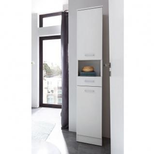 W.Schildmeyer Badmöbel Lorenz Hochschrank H300 mit zwei Türen einem Schubkasten und einem offenen Fach für Badezimmer Korpus Perlweiß Front wählbar - Vorschau 5