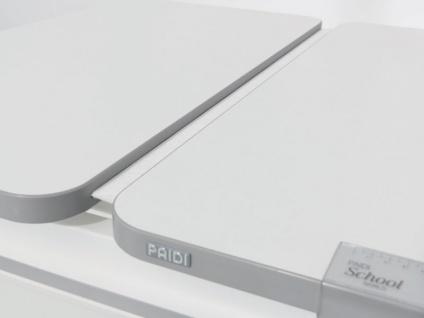 Paidi Schoolworld Diego 130 GT Kinderschreibtisch in weiß mit geteilter Platte und Kinderschreibtischstuhl Sino Bezug in Grau mit X-Muster - Vorschau 4