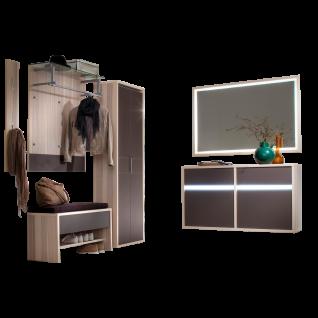 Wittenbreder Merano Garderobenkombination Nr. 10 komplette Garderobe für Ihren Flur und Eingangsbereich 7-teilige Vorschlagskombination mit Beleuchtung in Kernesche Furnier und Basalt Glas mattiert Metallelemente in matt