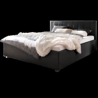 Meise Möbel Polsterbett MyLife mit Kunstlederbezug in schwarz Kopfteilvariante 2 mit senkrechten Steppnähten und aufgesetzter Kissenoptik am Kopfteil Metallfüsse eckig in Chromoptik Liegefläche wählbar