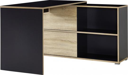Germania Slide Schreibtisch 4036 in wählbarer Farbe Winkelschreibtisch mit Seitenwange und integriertem Sideboard mit zwei Schiebetüren und wendbaren Frontelementen Arbeitstisch für Homeoffice oder Büro