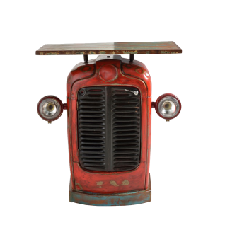 Sit Möbel Traktor-Schrank rot Metall Deckplatte bunt aus Altholz Upcycling Möbel