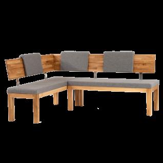 Standard Furniture Factory Eckbank Catania kurzer Schenkel links Bezug LOCO shark skin Massivholz Eiche natur geölt