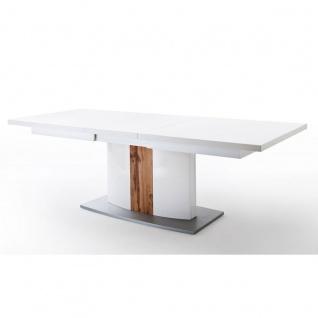 MCA Furniture Livorno LIV99T60 Esstisch für Ihr Esszimmer weiß melamin Nachbildung Säule mit Absetzung Wotan Eiche ausziehbar mit Synchronauszug - Vorschau 2