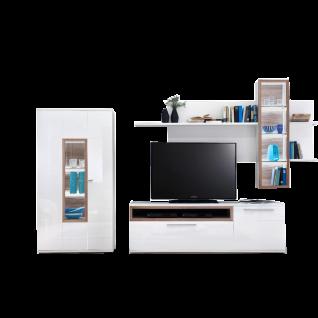 MCA Furniture Wohnkombination III Pamplona Ausführung Front und Korpus weiß mit Absetzung Riviera Eiche Nachbildung