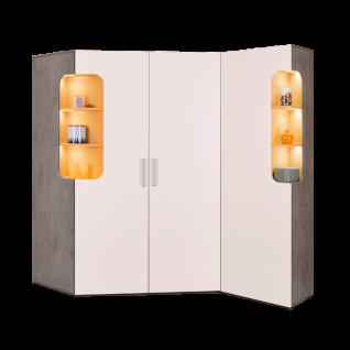 Rudolf Möbel Max-i Eckschrank-Kombination Koprus und Front in Dekor Einsätze in Lack optional mit LED-Einsatzbeleuchtung